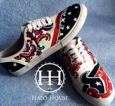 Custom Painted Texans shoes Vera Bradley Print by HaloHouse, $135.00