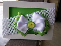 baby girl bow headband infant girl bow headband green white polka dot botique bows   by BrightBlossomBotique, $10.00