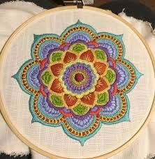 Finished my mandala! Finished my mandala! Crewel Embroidery Kits, Embroidery Patterns Free, Embroidery Applique, Beaded Embroidery, Cross Stitch Embroidery, Embroidery Designs, Felt Applique, Fabric Art, Needlework