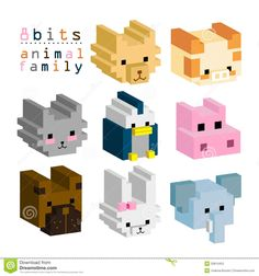 pixel art animals - Google Search
