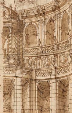 Giuseppe Galli Bibiena | 1696-1757 | The Interior/Exterior of a Palatial Auditorium | The Morgan Library & Museum