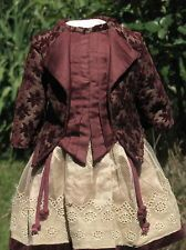 French Velvet/Silk Doll Dress For Antique Dolls>>>>>>>>>>>>>>>>>>>>>>>>>>>>>>>