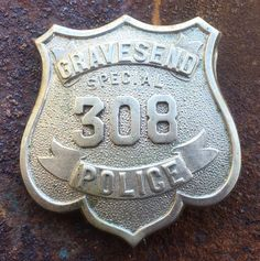 RARE Antique 1800's GRAVESEND NEW YORK Special Police Badge # 308    AR0217