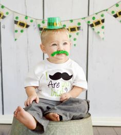 St Patricks Day Mustache Boy Applique Embroidered Shirt St Patty