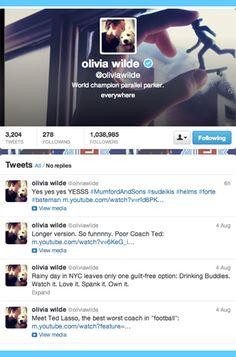 11 Celebrities to Follow on Twitter: Olivia Wilde.
