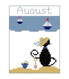 Free August mini cat cross stitch pattern by Lynn B