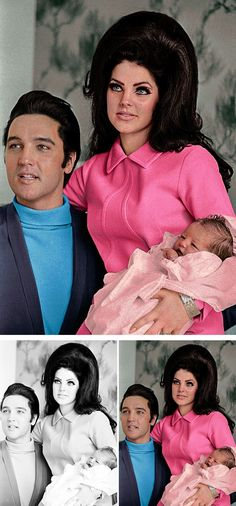 Elvis Presley, Priscilla Presley And Lisa Marie - Artist Colorizes Old Black & White Photos Making History Come To Life
