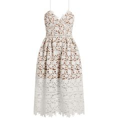 904755d7db7f Self-portrait Azaelea lace midi dress ($500) ❤ liked on Polyvore featuring  dresses, white, white dresses, pleated dresses, mid calf dresses, brides  dresses ...