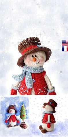 Crochet Christmas Decorations, Holiday Crochet, Free Christmas Crochet Patterns, Crochet Snowman, Crochet Ornaments, Crochet Amigurumi Free Patterns, Snowman Crafts, Crochet Projects, Knitting