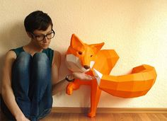 Fox sculpture, DIY, Paperwolf Fox de Paperwolf's Shop por DaWanda.com