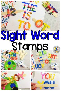 Are you looking for a fun sight word activity for your kids? Making Sight Word Stamps and painting the high frequency words is a fun and creative way to practice spelling and reading high frequency words. This hands-on sight word activity is an engaging and entertaining word work center in your classroom or homeschool! These Sight Word Stamps are so easy-to-make and fun to use! Click on the picture to learn how to make this sight word activity! #sightwordactivity #highfrequencywords #wordwork