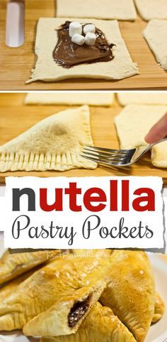 Nutella Pastry Pockets -- Made with Crescent rolls! So easy and yummy. (Super fun video tutorial!) | Fast Forward Fun                                                                                                                                                      More