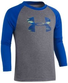 Under Armour Logo-Print Raglan-Sleeve T-Shirt, Toddler Boys (2T-5T) - Carbon Heather 3T