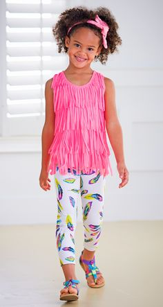 From CWDkids: Tiered Fringe Top & Feather Print Leggings