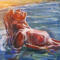 zee en zon - pastel, 2020 Mermaid, My Arts, Painting, Painting Art, Paintings, Painted Canvas, Drawings