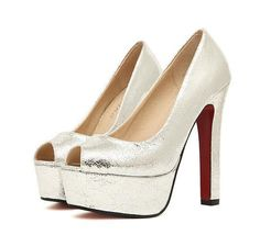silver open toe red bottom platform heels @trendy-stilettoheels.blogspot.com