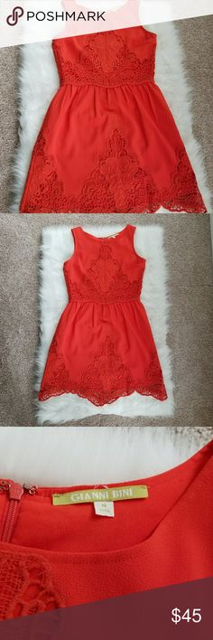 Gianni Bini Crochet Dress Beautiful vibrant orange dress from Gianni Bini. Lovely crochet detailing. Fully lined, zipper closure. Just a gorgeous dress and in great condition!! Perfect for spring, summer, and wedding season!! Gianni Bini Dresses