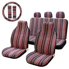 Stripe Multi-Color Seat Cover Baja Saddle Blanket Weave Universal Red fashionable Bucket Seat Cover with Steering Wheel Cover Drive & Passenger Bucket Seat Covers, Girly Car, Saddle Blanket, Car Restoration, Cool Gadgets To Buy, New Honda, Car Hacks, Cute Cars, Wheel Cover