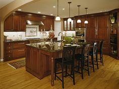 kitchen -- light floors, cherry cabinets - granite too dark for me