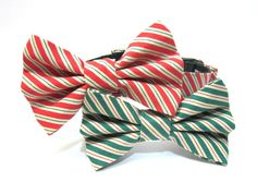 Christmas Bow Tie Dog Collar for Barkley- Red or Green Christmas Stripes. $36.00