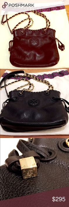 Tory burch Marion mini handbag Classic timeless Tory burch purse- whip stitch detail at the top- side tie detail and closure- never used- soft black pebbled leather. Tory Burch Bags Shoulder Bags