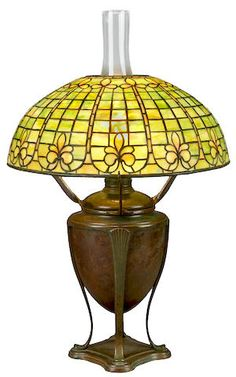 A Tiffany Studios Favrile glass and bronze Fleur de Lys lamp 1899-1918