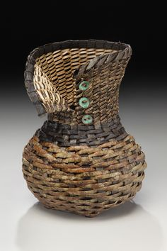 Matt Tommey, Artist, Bark Vessel, mimosa and poplar bark, copper, buttons