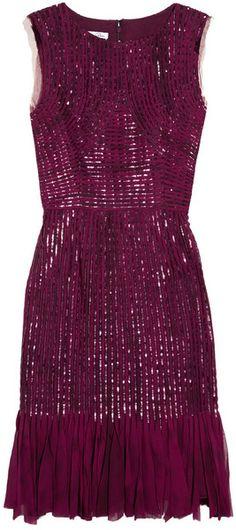 OSCAR DE LA RENTA Silk Chiffon Appliquéd And Sequined Silk Tulle Dress