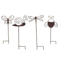 adorable - Summer Garden Stakes Garden Stakes, Garden Art, Home And Garden, Outdoor Projects, Garden Projects, Outdoor Decor, Garden Power Tools, Wire Crafts, Garden Accessories