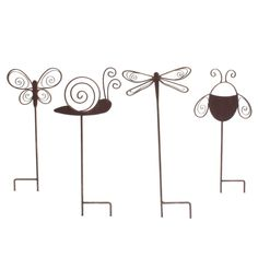 Cute Summer Garden Stakes Set.