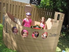 I have to find some cardboard! Pirate birthday party ideas from catchmyparty.com.