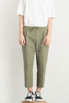 Menswear | Drawstring Crop Trousers, Khaki