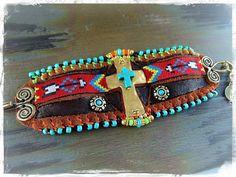 Native CROSS CUFF leather BRACELET Turquoise Cross door GPyoga