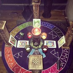 A Wiccan altar for tarot meditation