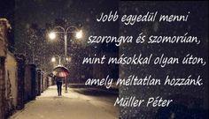 """""""Jobb egyedül menni szorongva és szomorúan, mint másokkal olyan úton, amely méltatlan hozzánk."""" (Müller Péter idézete a Life című magazin Heti útravaló rovatának 14. részében) - A kép forrása: Gumicsizma # Facebook"""
