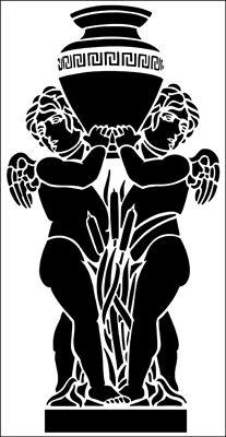 Aquarians stencil from The Stencil Library ARCHITECTURE range. Buy stencils online. Stencil code AR85.