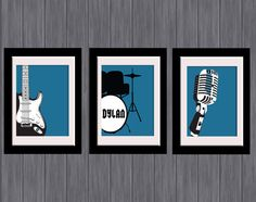 Boys Room set of 3 band / music personalised Wall Art - guitar, drums, mic