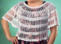 A tunica crosetata recommended for summer season, easy, lighter sourdough and charismatic, ideal for summer. Knitting Patterns, Crochet Patterns, Crochet Tunic, Crochet Tops, Summer Tops, Cross Stitch Designs, Tunic Tops, Sweaters, Cotton