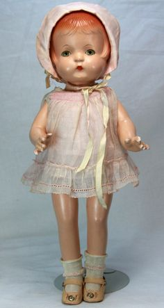 Vintage Effanbee Patsy Joan Doll Near Mint C1930...she's a lot like mine (mine has no bonnet)