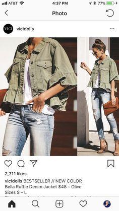 Cute Jean Jackets, Denim Romper, Winter Wardrobe, T 4, Denim Fashion, Best Sellers, Military Jacket, What To Wear, Fashion Dresses