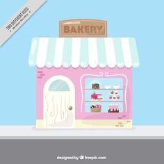 Fondo de bonita panadería vintage vector gratuito Birthday Cake Girls, 2nd Birthday, Diy Gift Box Template, Vintage Bakery, Beach Hacks, Bakery Design, Cakes For Boys, Displaying Collections, Cute Drawings
