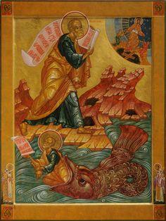Icon Gallery — Prosopon School of Iconology Religious Images, Religious Icons, Religious Art, La Résurrection Du Christ, Prophet Jonah, L Icon, Spiritual Figures, Jonah And The Whale, Christian Art