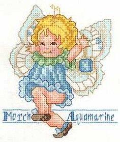 Toddler Birthstone Fairy March Aquamarine Free Cross Stitch Pattern 1/5