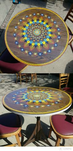 Tabletop mandala decor, acrylic paints. Custom order by Lis.
