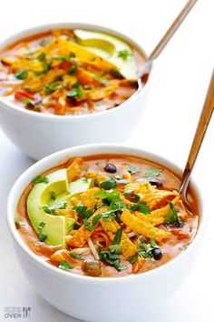 Cheesy Chicken Enchilada Soup-these sound amazing