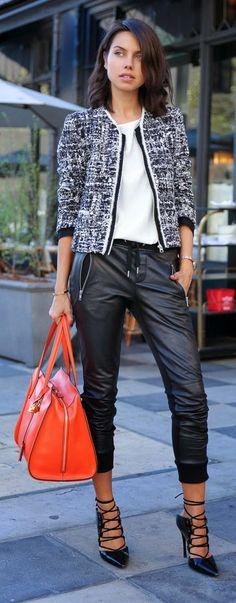 Daily New Fashion : Sandro Vitalic stucco print blazer + leather & ponte knit track pants + orange leather handbag and pumps - VIVALUXURY.