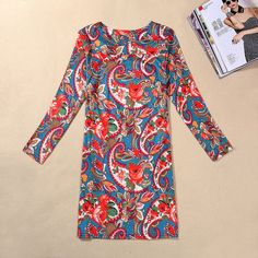 Plus Size Vintage Printed Casual Dress