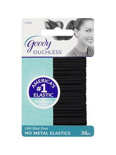 Goody Ouchless No Metal Elastics in Little Black Dress I'm very picky when it comes to hair elastics because most of them aren't strong enough to hold my very fine hair in a ponytail, especially when I'm working out. These always get the job done.
