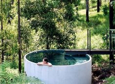 Concrete pipe can be used in plunging or soaking pools in landscaped gardens. See sparksarchitects.com in Australia - designers of this concrete pipe application