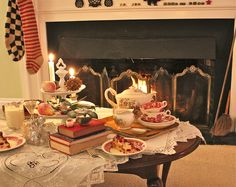 It's a Christmas Tea in front of the fire.  www.susanbranch.com